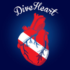Dive Heart deep blue flag red white color