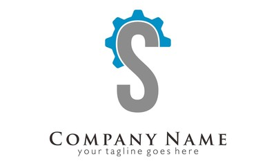 S initial letter engine gear logo