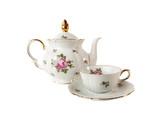 Porcelain teapot, teacup and saucer with rose
