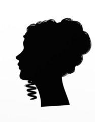 Profile of woman with chignon