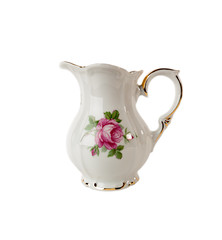 Porcelain Jar with a pattern of roses and gold on white