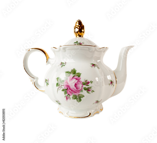 Porcelain teapot with a pattern of roses