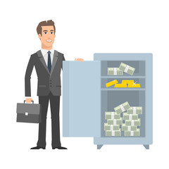 Businessman standing near with open safe and smiling