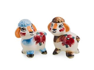 Two ceramic lambs