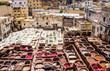 Leinwandbild Motiv Fez, Marocco, tannery leather souk.