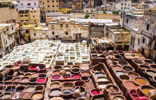 Fotobehang Marokko Fez, Marocco, tannery leather souk.