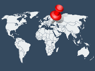 World map with red push pin