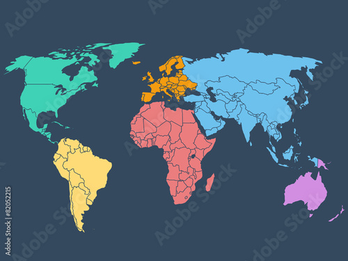 Juliste World map illustration, stock vector