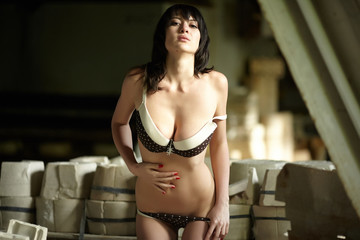 girl in lingerie brown white peas on a porcelain factory among p