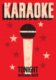 Vector typographic retro grunge karaoke poster.