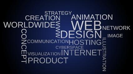 Web design word cloud animation - blue bg. Loop able.