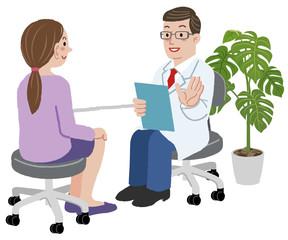 医者 女性 Doctor and his female patient at his office