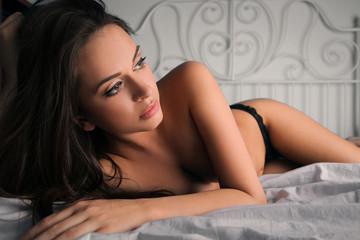 Beautiful girl lying