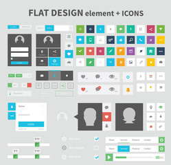 Flat design ui kit elements in nice color