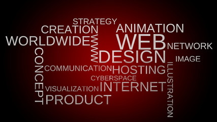 Web design word cloud animation - red bg. Loop able