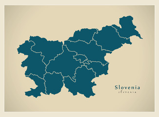 Modern Map - Slovenia with regions SI