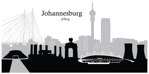 Vector illustration of skyline of Johannesburg South Africa