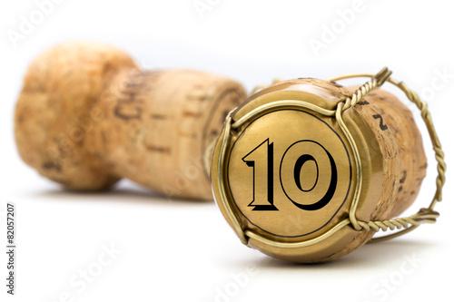 Foto op Plexiglas Uitvoering Champagnerkorken Jubiläum 10 Jahre