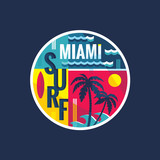 Surf - Miami - vector illustration in vintage style for t-shirt