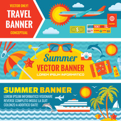 Summer travel - horizontal vector banners set in flat style