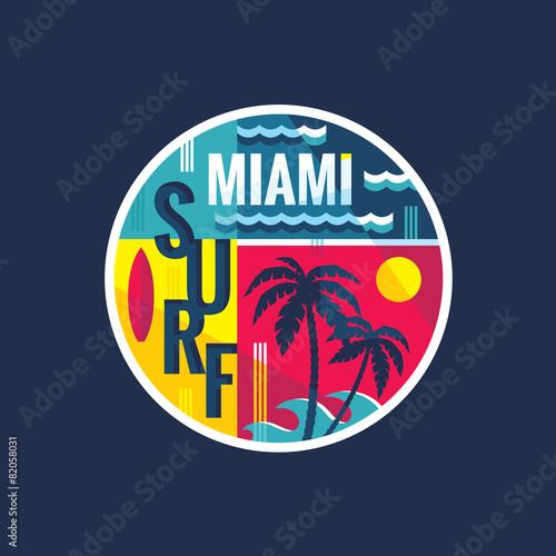 Fototapeta Surf - Miami - vector illustration in vintage style for t-shirt