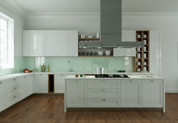 moderne helle Küche in Apartment