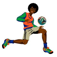 Footballer on the white background