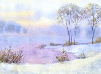 Watercolor landscape. Winter night over the lake and trees