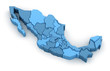 Leinwanddruck Bild - Map of Mexico. Image with clipping path.