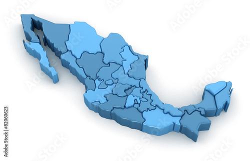 Leinwandbild Motiv Map of Mexico. Image with clipping path.