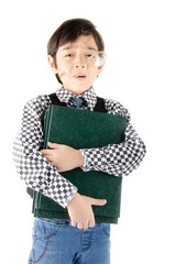 Little boy holding books with boring face on white background