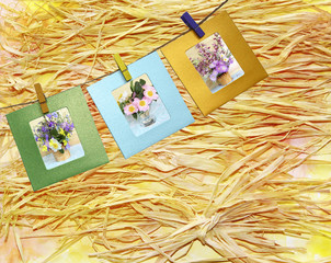 Beautiful photos of bouquets of flowers within a clothes pin on