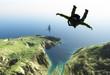 Parachutist in the sky.