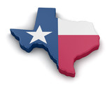 Map of Texas state with flag. Image with clipping path. - 82061876