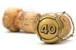 canvas print picture - Champagnerkorken Jubiläum 40 Jahre