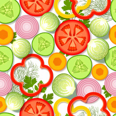 Seamless pattern with vegetables and greens