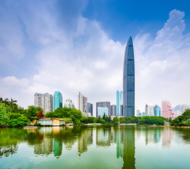 Shenzhen, China, Financial district from Lychee Park