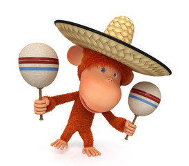 The monkey costs in a sombrero maracases