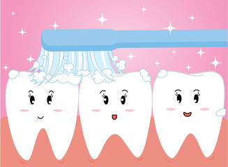 Happy cute cartoon tooth and toothbrush