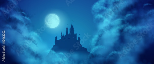 Fantasy Vector Castle Moonlight Sky - 82062202