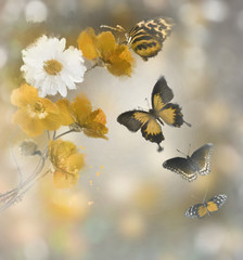 Flowers And Butterflies Watercolor