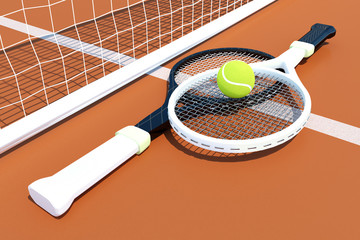 Tennis; rackets; sphere; court.