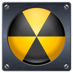 Vector nuclear sign on dark metal plate