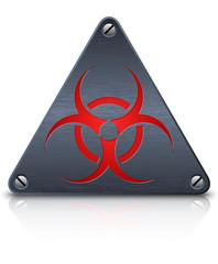 Vector biohazard sign on dark triangular metal plate