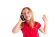 blond indented girl smiling talking smartphone