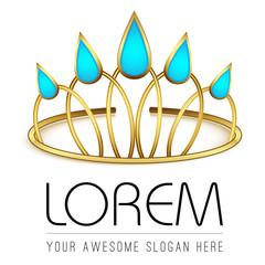 Logo template, queen diadem, water drops, water empire