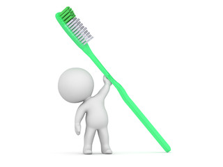 3D Character Holding Large Toothbrush
