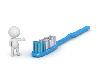 3D Character Showing Large Toothbrush