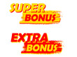super and extra bonus, yellow and red drawn labels