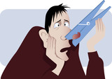 Nasal congestion. Man with a clothespin on his nose poster